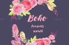 Boho watercolor bouguets by MitrushovaArt on @creativemarket