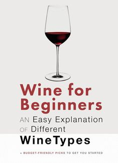 Wine for Beginners - An Easy Explanation of Different Wine Types To create wine beverages, Types Of Red Wine, Different Types Of Wine, Types Of Wine Glasses, Red Wine For Beginners, Wine Facts, Wine Chart, Best Red Wine, Wine Education, Wine Guide