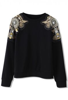 Embellished Shoulder Sweat Top