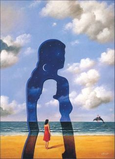"""In front of a painting, as in front of a beautiful woman, one must revel in wonder"" - Rafal Olbinski. Art Painting, Surrealist, Surreal Art, Fantasy Art, Rafal, Painting, Surrealism, Surrealism Painting, Art Movement"