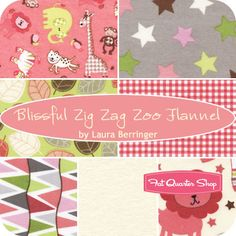 Blissful Zig Zag Zoo Flannel Fat Quarter Bundle Laura Berringer for Marcus Brothers Fabrics - Fat Quarter Shop