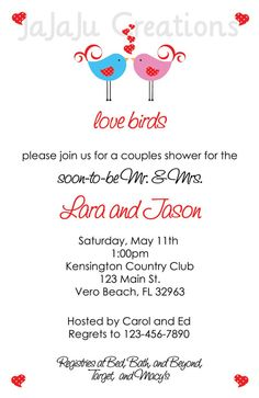 love birds bridal shower invitation perfect for the love birds this coed couples wedding