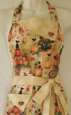 Thanksgiving / Harvest Full Retro Apron / Scarecrows by Eclectasie
