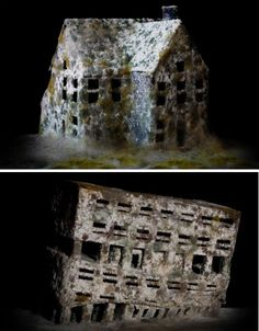 Italian artist Daniele Del Nero painstakingly constructed these architectural scale models out of black paper and covered them with a layer of flour and mold to mimic the effect of deteriorating abandoned buildings. Miniature Houses, Tiny Houses, Abandoned Buildings, Abandoned Places, Architectural Scale, Growth And Decay, Italian Artist, Black Paper, After Effects