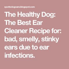 The Healthy Dog: The Best Ear Cleaner Recipe for: bad, smelly, stinky ears due to ear infections.