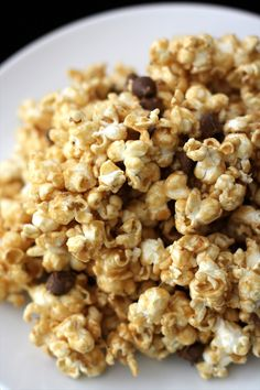 easy, no thermometer caramel peanut butter popcorn loaded with salted peanuts and chocolate chips