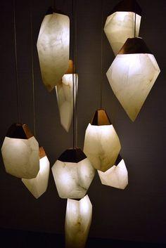 ALABASTER gorgeous hand carved alabaster pendant lights by talented artist/designer Randy Zieber: