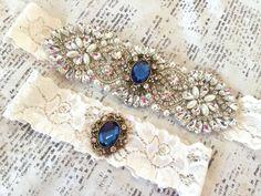 Something Blue Wedding Garter Wedding Garter by TheRaggedDiamond