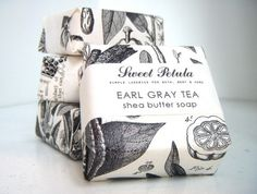 Earl Grey Tea Shea Butter Soap - by Sweet Petula Tea Packaging, Brand Packaging, Cookie Packaging, Paper Packaging, Beauty Packaging, Design Package, Deco Champetre, Shea Butter Soap, Shae Butter