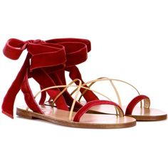 Valentino Valentino Garavani Velvet and Leather Sandals (9.723.245 VND) ❤ liked on Polyvore featuring shoes, sandals, red, genuine leather shoes, red shoes, leather footwear, valentino sandals and real leather shoes