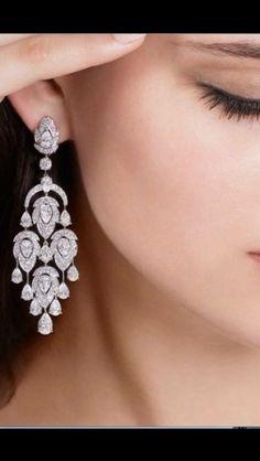 Ideas Bridal Earrings Long For Women For 2019 Long Diamond Earrings, Stone Earrings, Bridal Earrings, Bridal Jewelry, Bridal Accessories, Aquamarine Jewelry, Diamond Heart, Designer Earrings, Chandelier Earrings