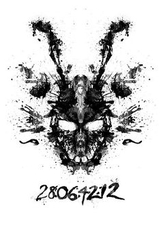 'Imaginary Inkblot- Donnie Darko Shirt' Photographic Print by spacemonkeydr Donnie Darko Rabbit, Donnie Darko Frank, Donnie Darko Tattoo, Katharine Ross, Film Pictures, Moving Pictures, Arte Horror, Horror Art, Horror Movies