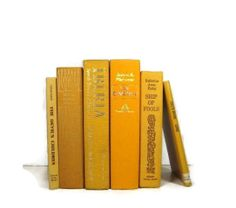 Vintage Books in Sunny Yellow and Orange shades for vintage wedding table, vintage home decor, and photography prop