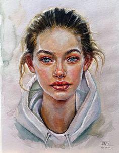 by Djenny-di on DeviantArt Watercolor Portrait Painting, Watercolor Face, Portrait Art, Portrait Ideas, Painting Art, Realistic Drawings, Art Drawings Sketches, Arte Sketchbook, Wow Art