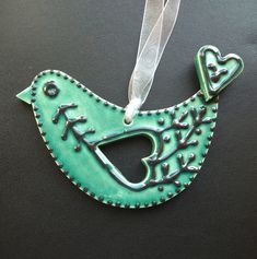 ceramic folk art  blue bird decoration  £6.00 - Dottery Pottery