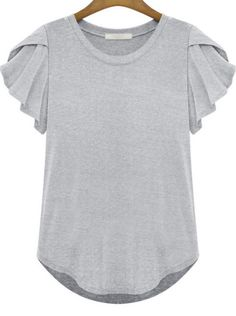 Shop Grey Round Neck Ruffle Short Sleeve T-Shirt online. SheIn offers Grey Round Neck Ruffle Short Sleeve T-Shirt & more to fit your fashionable needs. Shirts & Tops, Tees, Traje Casual, Chiffon Shirt, Chiffon Blouses, Ruffle Shorts, Look Chic, What To Wear, Fashion Outfits