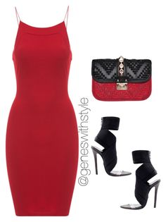 """Lady In Red"" by fashionablyeren ❤ liked on Polyvore"