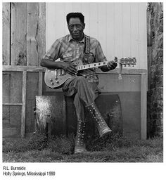 R.L. Burnside. Born in #OxfordMS in 1926, RL learned his craft from his neighbor the legendary Mississippi Fred McDowell. Burnside was making music well into this decade, he died at the age of 79 in 2005.