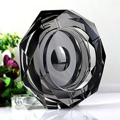 Amlong Crystal Octagon Black Large Crystal Ashtray 6 Inch for Cigarettes or Cigars with Gift Box >>> Want additional info? Click on the image.