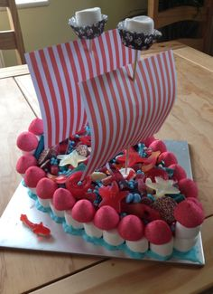 Pirate ship sweetie cake. Made from marshmallows, candy, Hunnies and chocolate!