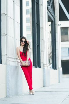 Lady in Red :: One shoulder jumpsuit