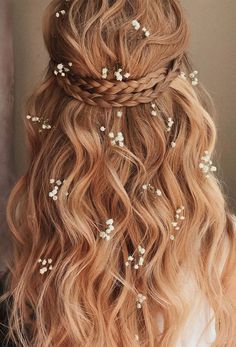 30 Wedding Hairstyles Half Up Half Down With Curls And Braid ❤ wedding hairsty. - - 30 Wedding Hairstyles Half Up Half Down With Curls And Braid ❤ wedding hairstyles half half curls braid crown on light red hair with baby breath belay. Wedding Hairstyles Half Up Half Down, Half Up Half Down Hair, Wedding Hair Down, Wedding Hairstyles For Long Hair, Box Braids Hairstyles, Wedding Hair And Makeup, Down Hairstyles, Wedding Bride, Half Updo