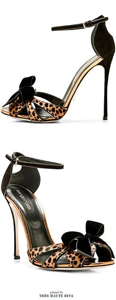 Sergio Rossi Fenice Printed Calfhair and Velvet Sandals ♔THD♔