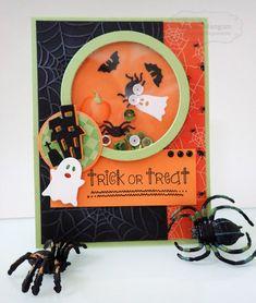 Halloween Shaker Card by Regina Mangum #Cardmaking, #Halloween, #ShakerCards