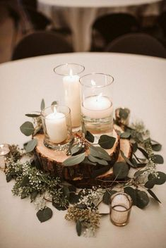 budget friendly greenery wedding centerpieces colors for wedding part 3 modern inspiration at a rustic wedding venue Wedding Colors, Wedding Flowers, Wedding Greenery, Romantic Wedding Centerpieces, Wedding Ideas Candles, Romantic Table, Romantic Candles, Simple Wedding Decorations, Romantic Roses