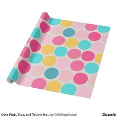 Cute Pink, Blue, and Yellow Mega Dots Wrapping Paper