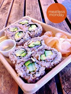 Meatless Monday Idea: Avocado and Cucumber Sushi Rolls in Multi-grain Rice #vegan #8020eating