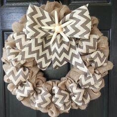 Chevron Starfish Burlap Wreath