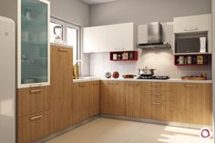 Innovative & New Kitchen Cabinet Design: Modular Kitchen Two Tone Kitchen Cabinets, Kitchen Cabinet Design, Interior Design Kitchen, Kitchen Reno, L Shaped Kitchen Designs, New Kitchen Designs, Kitchen Ideas, Kitchen Modular, Wooden Kitchen
