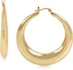 Hint of Gold Puffed Hoop Earrings in 14k Gold-Plated Metal