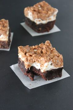 Crunch Brownies - brownies topped with marshmallows & a chocolate peanut butter rice crispy layer! bakedinaz.com