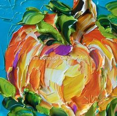 Pumpkin on teal painted 6x6 very wide edge gallery wrapped canvas edge painted teal, impasto oil technique with brush and palette knife. What is impasto? Impasto is a term used to describe thickly layered paint that is three-dimensional in appearance. You could almost say impasto is sculpture on a canvas. copyright reserved original signed oil on canvas paintings