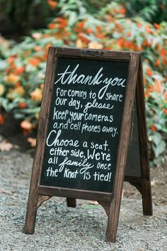 DIY chalkboard wedding sign idea - no cellphones - LOVE THIS! {B. Jones Photography}