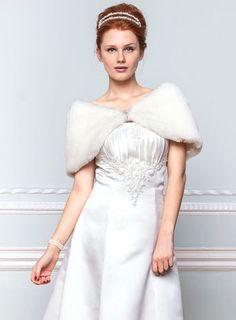 Bridal Ivory Fur Shrug - accessories - Wedding