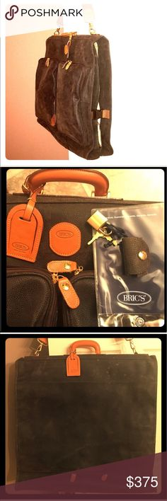 Brics Life Deluxe Garment Bag 💼 Carried once!Pristine clean.Only flaw is Fade spots as seen in pics. Housekeeper sprayed it with the wrong bottle!! Olive w/Tuscan leather trim.Brass hardware/rivets @ pressure points. Top leather carry handle with steel core.Removable,adjustable shoulder strap.2 front zipper pockets.Interior clamp to hang garments, tie-down straps&organization pockets;Hanging door hook.Heavy-duty zippers.Fully lined, satin nylon interior is stain/water resistant. Side/bottom…