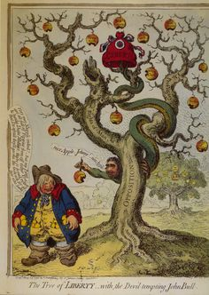 James Gillray: The Tree of Liberty with the Devil tempting John Bull. Reform and liberty (represented by the Phrygian cap of The French revolution) are presented as the Devil's work, 1798.