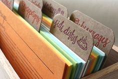 Letterpress Recipe Cards and Recipe Box l 1canoe2