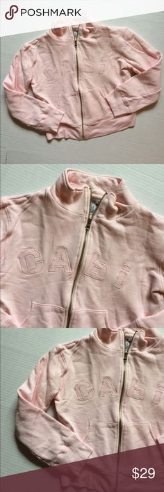 "CABI zip up sweater shirt. 100% cotton. Size XS Cutest pink CABI zip up sweatshirt!!! Love the light pink color. Bust is 18"" length is 19"" would also work for a Small! CAbi Tops Sweatshirts & Hoodies"