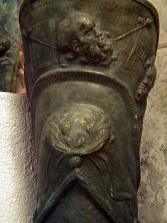 Detail of a decorative bronze greave (found at Pompeii), Capua Gladiator Museum, Capua