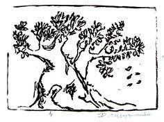 Olive Tree, 2011, Engraving on Linoleum - Rena Kalogeropoulou