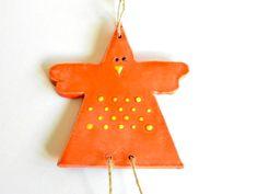 Orange Chicken Ceramic Ornament  Easter Decoration by Ceraminic #easterdecor #babydecor #ceramicchichen