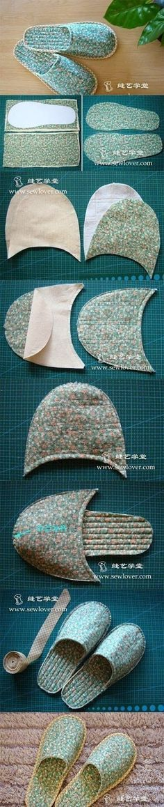 DIY : Sew Slipper   DIY & Crafts Tutorials - use old towels for post-bath / shower.