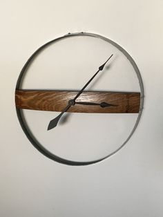 Clock Made From a Recycled Wine Barrel Ring and Stave by BobsBarrelArt on Etsy