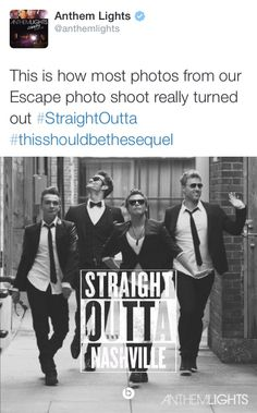 This says so much about their personalities....I mean seriously; The fact that grown men can't take a professional photoshoot seriously is awesome. They are kids!!!!!