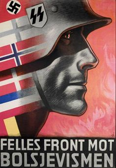 Norwegian recruitment poster for the Waffen SS. An SS soldier in profile is looking towards a fire that represents Bolshevism, while a number of flags showing the mixture of the soldiers' nationalities gathered in the Waffen-SS.  Artist: Harald Damslet