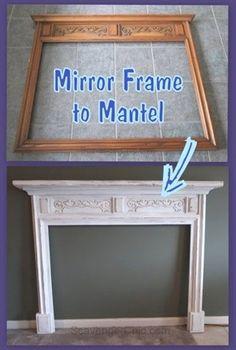 Transform A Mirror Frame To Fireplace Surround And Mantel Fireplace ~ verwandeln sie einen spiegelrahmen in eine kaminverkleidung und einen kamin ~ transformez un cadre de miroir en une cheminée et un manteau de cheminée Faux Foyer, Faux Mantle, Faux Fireplace Mantels, Diy Mantel, Fireplace Frame, Fireplace Surrounds, Fireplace Design, Mantles, Fireplace Surround Diy